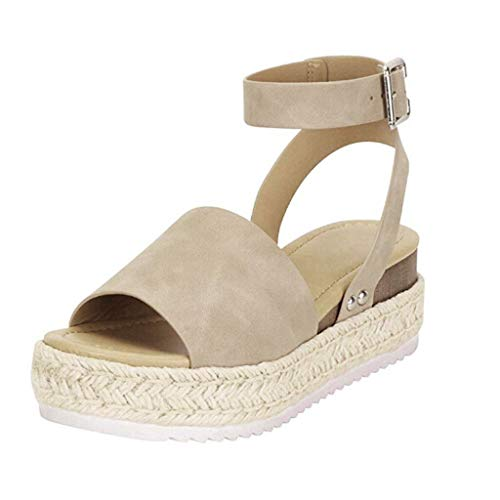 (SSYUNO Women's Platform Sandals Espadrille Wedge Ankle Strap Studded Open Toe Sandals Peep Toe Beach Travel Flat Shoes Khaki)