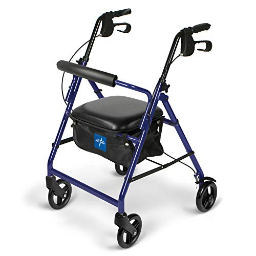 Medline Aluminum Rollator Walker with Seat, Folding Mobility Rolling Walker has 6 inch Wheels, Blue