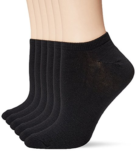 K. Bell Women's 6 Pack Fashion No Show Liner Socks, Solid Black, 9-11 (Bell Trading Post)