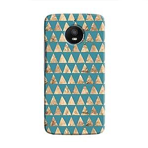 Cover It Up - Brown Blue Triangle Tile Moto E4 Plus Hard Case