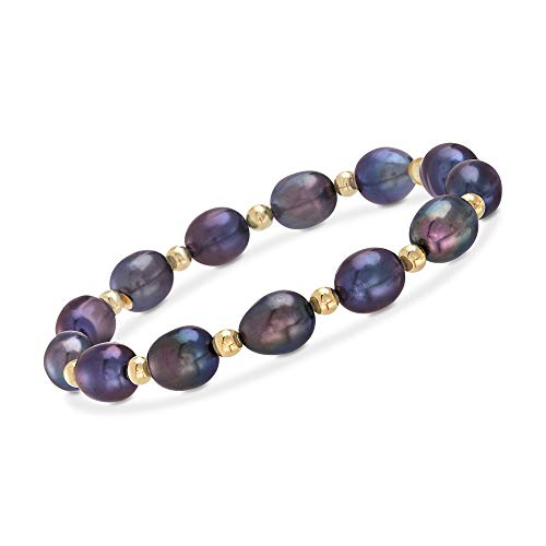Ross-Simons 8-9mm Black Cultured Pearl and 14kt Yellow Gold Bead Stretch Bracelet