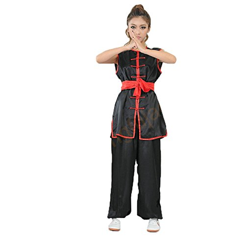 ZooBoo Unisex Kdis Chinese Traditional Wushu Martial Arts Uniform (Black, XXL)