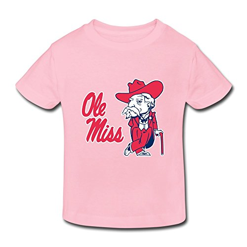 Pink Ambom Ole Miss Rebels Little Boys Girls Short-Sleeve T Shirt For Toddlers Size 3 Toddler (Ole Miss Rebels Wood)