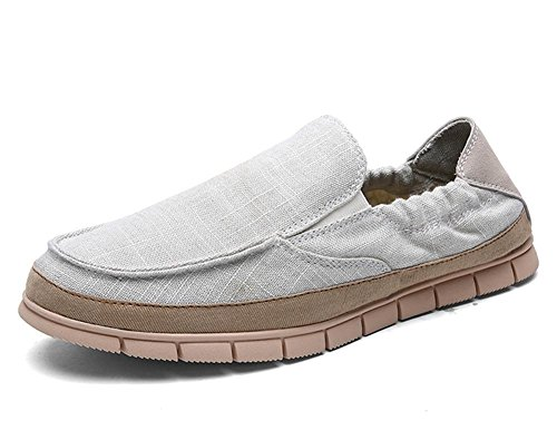 Hombres Lona Ponerse Casual Zapatillas Mocasines Alpargata Zapatos de tenis Entrenadores Barco Zapatos Para caminar tamaño Beige