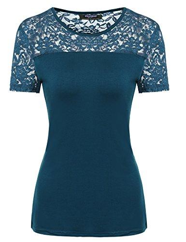 Zeagoo Damen Kurzarm T-Shirt aus Floral Spitze Basic Shirt Spiztenshirt Tunika Baumwolle Tops Hemd (EU 40/ L, Gruen)