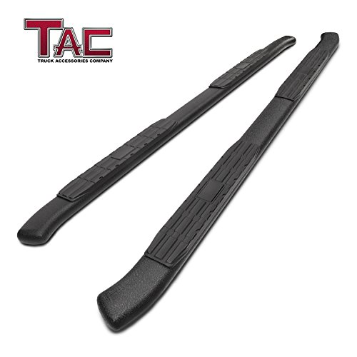 TAC 4.25″ Side Steps for 2007-2018 Toyota Tundra Double Cab Pickup Truck Oval Bend Texture Black Nerf Bars Running Boards Exterior Accessories (Texture Powder Coating Brackets) (2 Pieces)