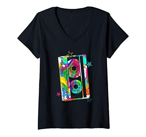 Womens Cassette Tape Costume 80s 90s Vintage Music Fan Gift T-Shirt V-Neck T-Shirt]()