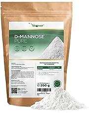 D-Mannose poeder, 200 g, (3,3 maanden voorraad), van plantaardige fermentatie, laboratoriumgetest, puur en natuurlijk, zonder toevoegingen, veganistisch