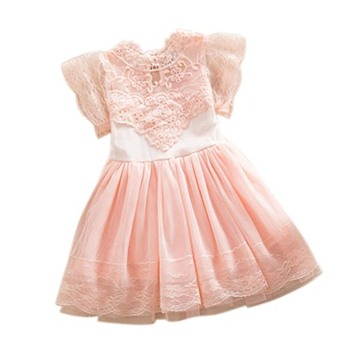 Kid Princess Dress, Misaky Flower Girl Party Tulle Lace Tutu Slip Dress (120CM(Age:4T), Pink)