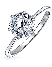 Silver Plated Brass Round Solitaire CZ Engagement Ring