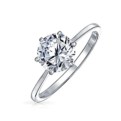 Bling Jewelry Silver Plated Brass Round Solitaire CZ Engagement Ring - Sterling Silver Engagement Plated Ring