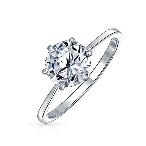 (Bling Jewelry 925 Sterling Silver Round CZ Solitaire Engagement Ring - Size 5)