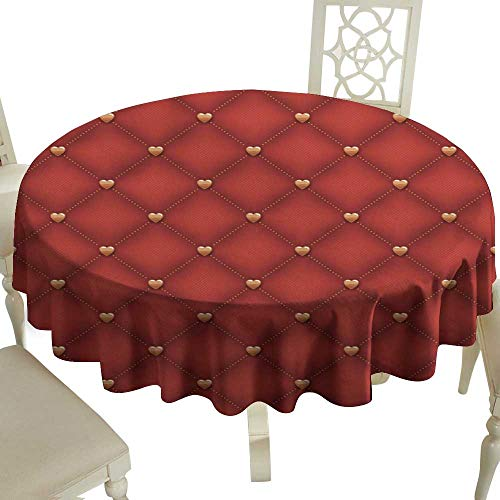 Washable Table Cloth Seamless Dark red Quilted Background with Golden Heart Shaped pins Great for Buffet Table D43
