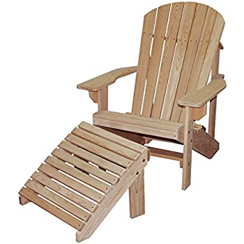 Cypress ADIRONDACK Chair And OTTOMAN With Contoured Seat And Back Assembled  With Stainless Steel Hardware Handmade