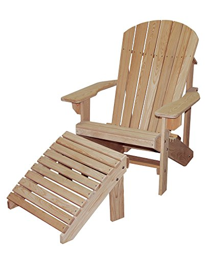Cypress ADIRONDACK Chair and OTTOMAN with Contoured Seat and Back assembled with Stainless Steel Hardware Handmade in the USA with Rot-resistant Eternal Cypress Wood