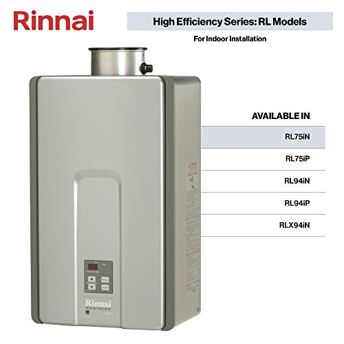 Rinnai RL75IN Tankless Water Heater, Large, RL75iN-Natural Gas/7.5 GPM