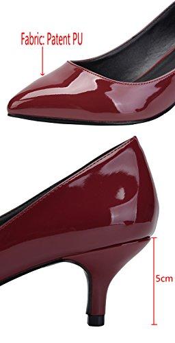 Camssoo Kitten Tacchi Per Donna Classico Slip On Scarpe A Punta Scarpe Pompe Vino Rosso Pu