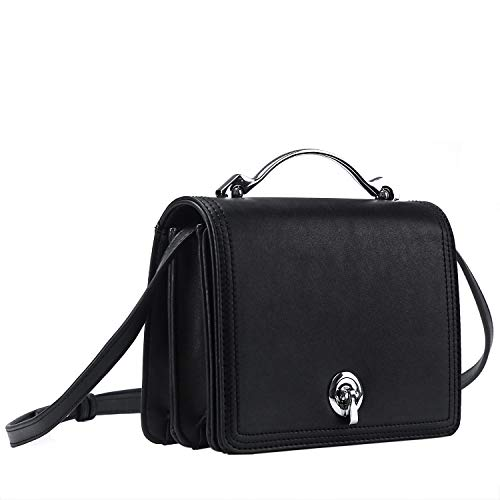 Betiteto Designer Crossbody Bags PU Leather Mini Street Shoulder Handbags Purse for Women Girls (Black)