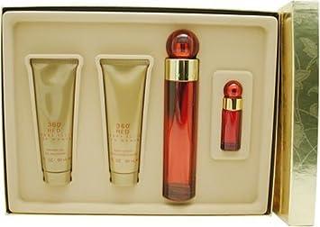 Perry Ellis 360 Red By Perry Ellis For Women, Set Of 4 Eau De Parfum Spray, Body Lotion, Shower Gel, Mini Eau De Parfum Spray
