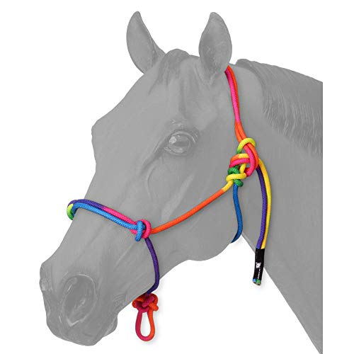 Showman Tough-1 Pony Rainbow Poly Nylon Adjustable Crown Tied Knot Cowboy Rope Halter ()