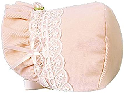 Betty Ann Pink Fleece Bonnet with Lace 58190 Ribbon /& Rose Adornment w//tie Closure