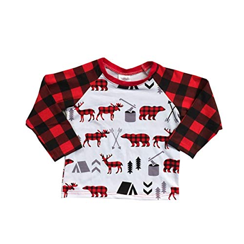 Baby Kids Girl Unicorn Thanksgiving Christmas Car Print Ruffle Polka Dot Cotton T-Shirt Top Outfits (Deer, 3T)