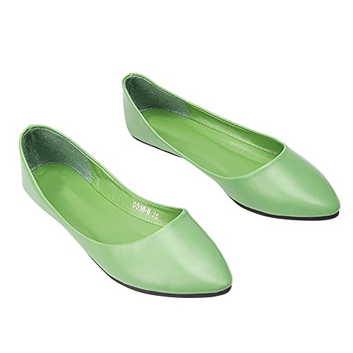 Mocassini Da Donna Verocara Comode Scarpe A Punta Piatte Da Balletto Verde