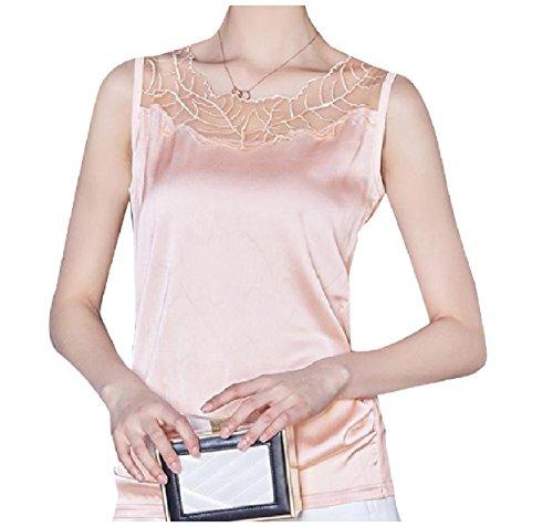 偽フリッパーアピールTootess 女性のレースチュール花ファッションのシャルムーズ生地サテンタンクトップベスト