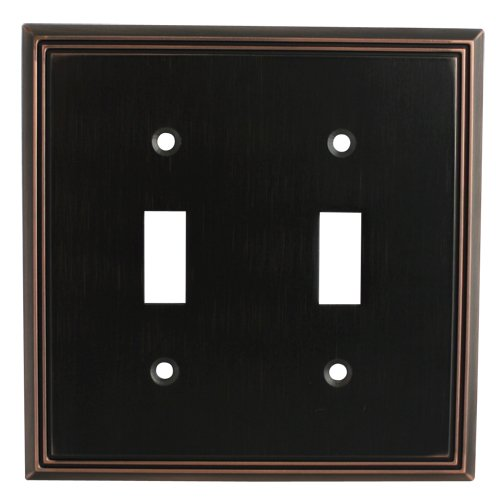 Cosmas 65004-ORB Oil Rubbed Bronze Double Toggle Switch Plate Switchplate Wall Cover (Bronze Venetian Switchplate)