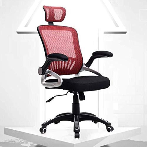 Kommersiell - galler justerbar kontorsstol, hem datorstol, med nackstöd/huvudstöd, justerbar höjd, 120 ° insida, 3D-kudde (rosa)