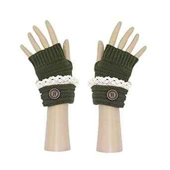 Amazon.com: Olive Winter Knit Fingerless Cuffed Gloves w