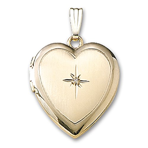 Genuine 14K Yellow Gold Heart Shaped Locket with Diamond (1/2 inch x 1/2 inch) by ITI Findings