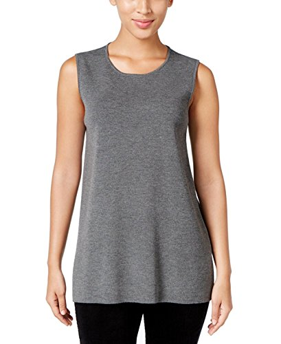 Eileen Fisher Women's Roundneck Long Wool Crepe Shell (X-Small, Ash Grey) by Eileen Fisher