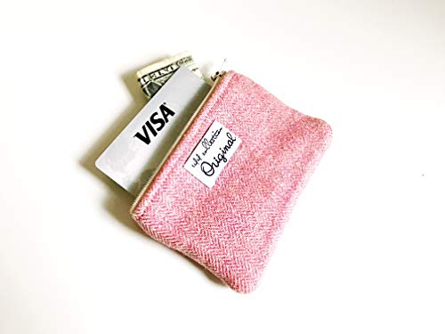 Pink Coin Purse, Small Coin Pouch, Change Purse, Herringbone Wool Coin Purse by 144 Collection
