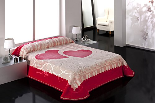 European - Made in Spain warm blanket The Wedding Gift 220x240 Rojo Color 1 PLY by MORA Blankets