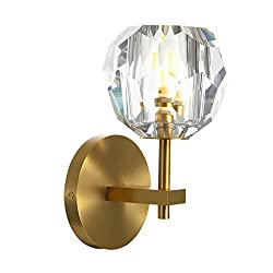 Crystal Ball Brass Wall Sconce