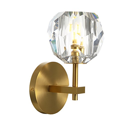 (Yue Jia Top K9 Crystal Ball Wall Sconce Brass Material Body Wall Mounted Light Rustic Industrial Vintage Flush Mount Wall Light Crystal Globe Lampshade Brass Wall Sconce Wall Lamp Lighting Fixture)