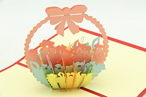 How To Make A Flower Basket Pop Up Card : Isharecards handmade d pop up thank you cards with