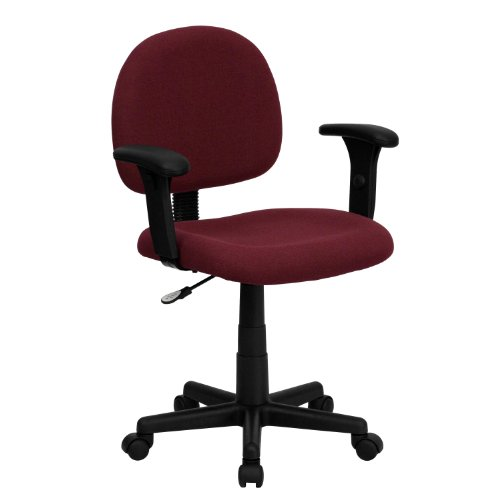 Thornton's Office Supply Low Back Ergonomic Burgundy Fabric Swivel Task Chair with Height Adjustable Arms price
