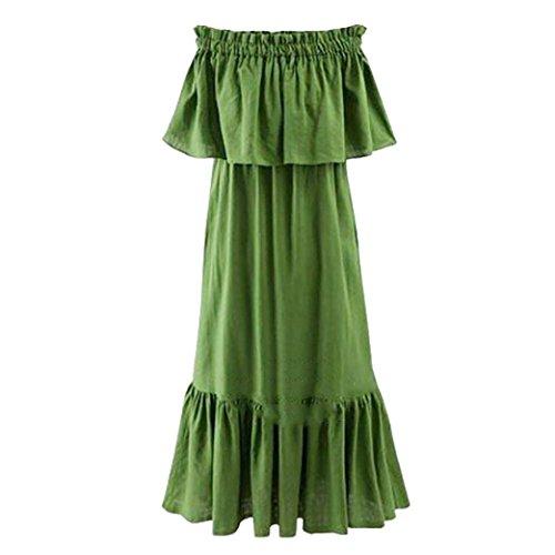 Solike Sommerkleid Damen Off Shoulder Schulterfrei Einfarbig Party Kleider  Frauen Mädchen Sommer Lässig Casual Hemdkleid Strandkleid 7c0cfc8d2b