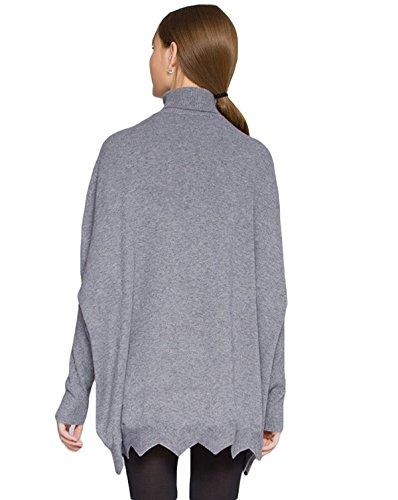 De Manga Larga Jersey De Murciélago Suéter Sólido De Las Mujeres Y Largas Secciones De Cuello Alto De Suéteres De Alta Gama Grey