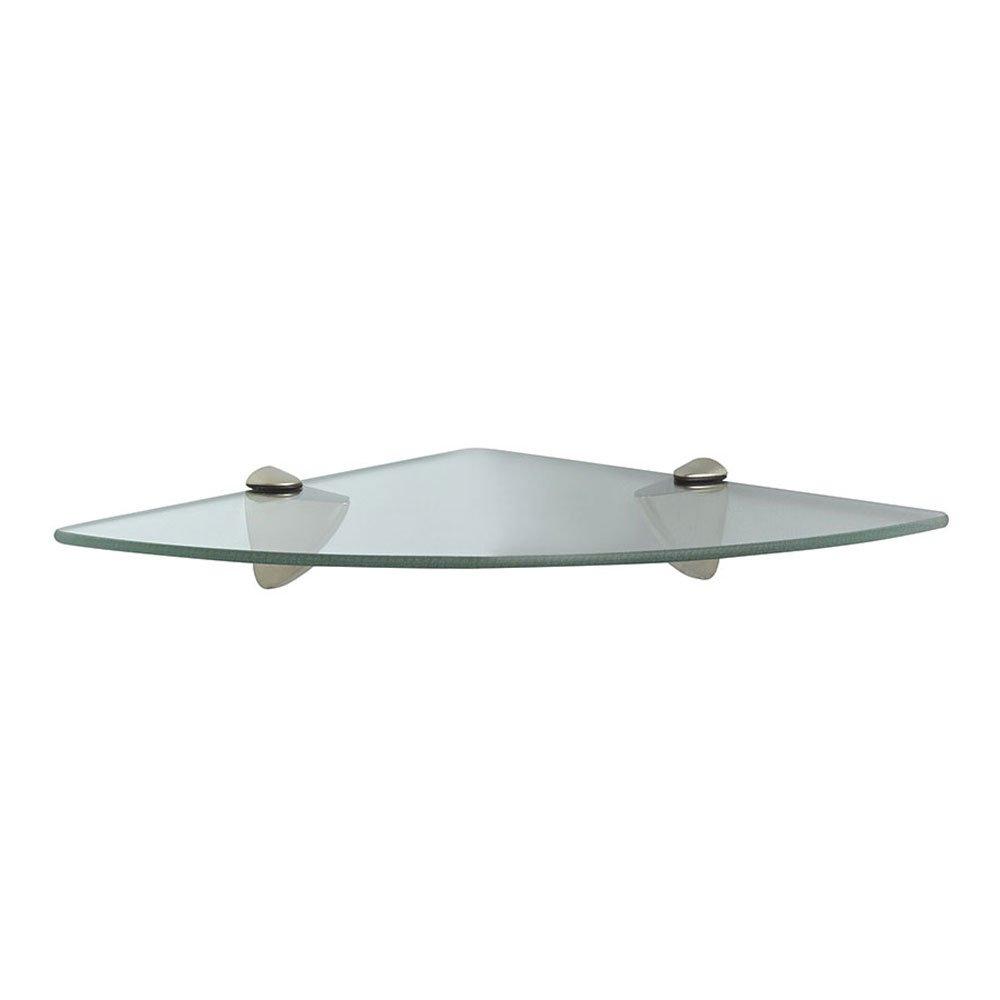 Knape & Vogt John Sterling Shelf-Made KT-0134-1212SN Glass Corner Shelf Kit, Satin Nickel, 12-Inch 12-Inch