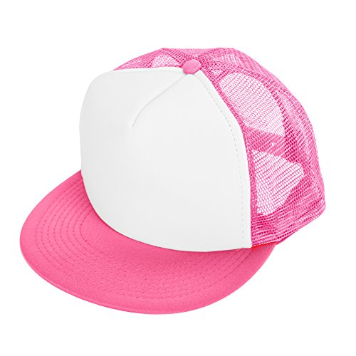 Trucker Mesh Cap Adjustable (DALIX Flat Billed Trucker Cap with Mesh Back M L XL Adjustable Hat (in 14 Colors) Caps (Neon-Pink-White))