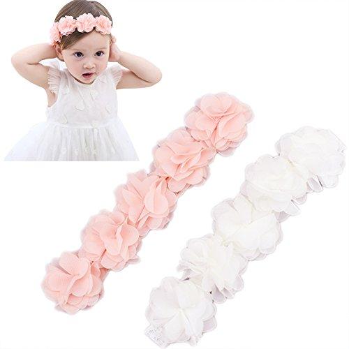 Baby Newborn Elastic Chiffon Flower Headbands Princess Girls Hand Sewing Beads Flower Headwear (White Pink Chiffon Flower Headband)]()