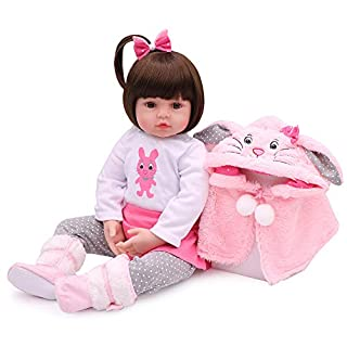 Lifelike Reborn Baby Dolls, 18 inches Realistic Weighted Reborn Baby Girl Toddler Girls Rabbit Toy Gift Set