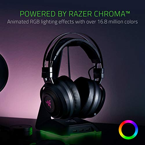 Razer Nari Wireless 7.1 Surround Sound Gaming Headset: THX Audio - Auto-Adjust Headband & Swivel Cups - Chroma RGB - Retractable Mic - For PC, PS4 - Classic Black