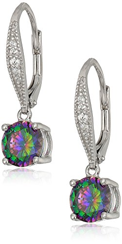 Sterling Silver 7 mm Drop Earrings On Pave Lever Back White and Mystic AAA 2.6K Cubic Zirconia Dangle Earrings (2.66 cttw)