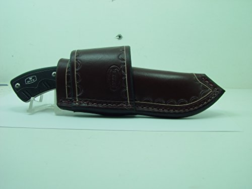 Buck Open Season 0536 Skinner Leather Sheath-Crossdraw Style. it is Dark Brown that fits a Guthook Fixed Blade. Leather Sheath is a new custom made Sheath with Border Hand Tooling. Fixed Blade Guthook Leather Sheath