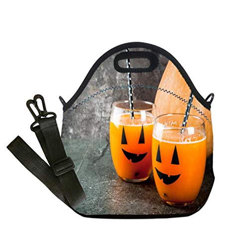 Insulated Lunch Bag, Reusable Outdoor Travel Picnic School Pumpkin drink for Halloween party Lunch Bag- Insulated and Reusable Artful Design ()