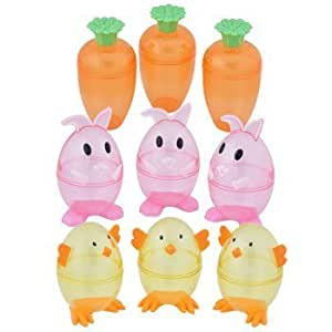 Bunny, Carrot, and Chick - Plastic Shaped Fillable Easter Egg Containers